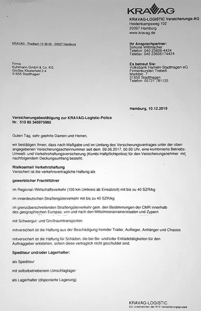 Versicherungsbestätigung Spedition Kuhlmann