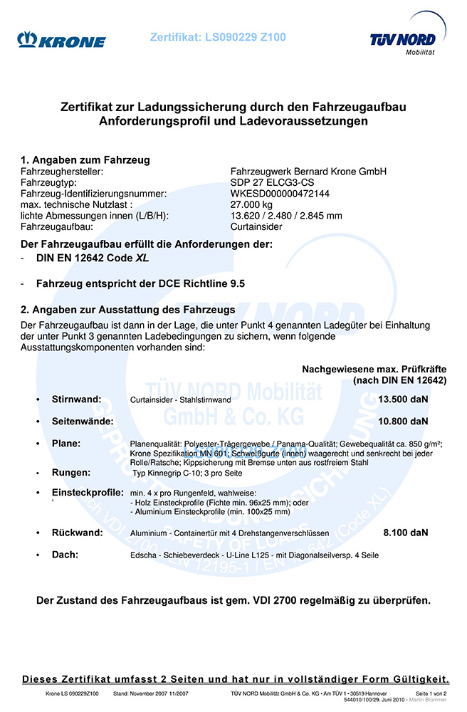 Zertifikat zur Ladungssicherung durch den Fahrzeugaufbau